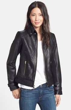 Free shipping and returns on Via Spiga Ruched Side Leather Jacket (Online Only) at Nordstrom.com. A snap-down point collar and belted cuffs add sartorial polish to a supple leather jacket designed with ruched side panels and buckle-tabs to perfect the fitted silhouette. Rib-knit sleeve panels offer enhanced comfort and mobility.