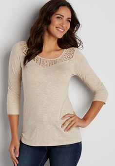 heathered tee with lacy neckline (original price, $24.00) available at #Maurices