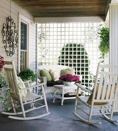 I just love this little porch, especially the lattice, for giving the feeling of a touch of privacy...