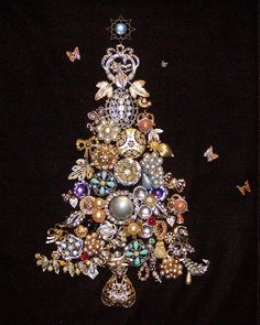 holiday vintage art christmas tree from costume jewelry