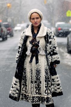 Olya Thompson  black and white knitted dress sweater and coat outfit  gorgeous
