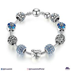 548ab725a Every girl loves hearts and flowers! This antique silver charm bracelet  with heart &