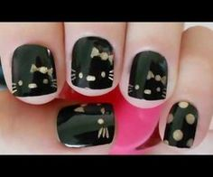 Hello Kitty & Cat Paw Prints Toe Nail Art Design , Have you even seen hello Kitty nail styles before? the lovable hello Kitty ought to be the foremost common cat within. Creative Nail Designs, Creative Nails, Nail Art Designs, Love Nails, How To Do Nails, Pretty Nails, Fancy Nails, Hello Kitty Nails, Nails For Kids