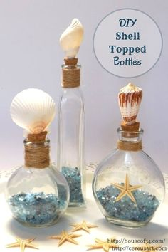 DIY Shell Topped Bottles