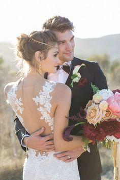 Illusion Back Wedding Dress with a Lariat Necklace #wedding #weddingideas #weddingphotos #weddings #bohemianwedding #weddingdress