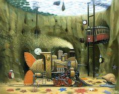 'Underwater traction' by Jacek Yerka