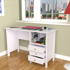 The sleek design of this white modern desk is perfect for an office or bedroom. With three accessory drawers, this stylish laminate desk features an open shelf for convenient storage and can be used as a computer desk or a writing desk.