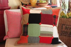Burlap Trimmed Patchwork Pillows with Vintage Felted Wools