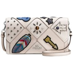 Coach Leather Embellished Across Body Purse, Chalk (9 660 UAH) ❤ liked on Polyvore featuring bags, handbags, coach purses, western leather purses, crossbody handbags, crossbody purses and coin purse