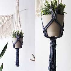 Dip Dyed Macrame Plant Hanger Hanging Planter by freefille on Etsy