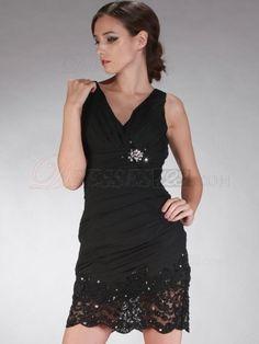 Chiffon V-neck Lace Cocktail Dress