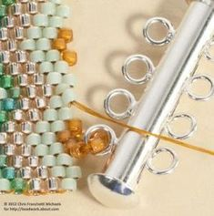Adding a clasp with thread - thread positioned for the second loop. - Thread exiting the high bead from which the second loop will be made.~ Seed Bead Tutorials