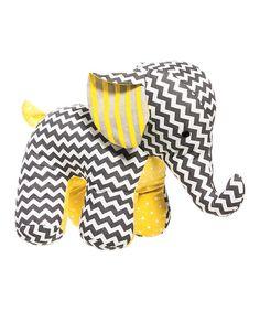 Just the cutest! Gray & Yellow Chevron Elephant Plush Toy