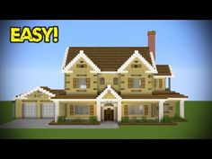 Minecraft: How To Build A Large Suburban House Tutorial ( In this Minecraft build tutorial I show how to create this modern house step by step in Modern Minecraft Houses, Minecraft Houses Survival, Minecraft House Tutorials, Minecraft Houses Blueprints, Minecraft City, Minecraft Room, Minecraft Plans, Minecraft House Designs, Minecraft Construction
