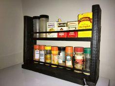 Pallet made spice rack Taco Spice, Old Pallets, Pallet Furniture, Liquor Cabinet, Custom Design, Spices, Storage, Wood, Home Decor