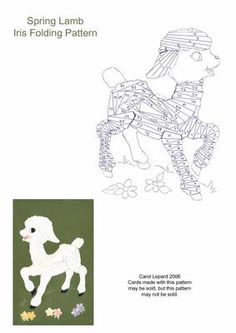 Spring Lamb Iris Folding Pattern on Craftsuprint designed by Carol Lepard - This Iris Folding pattern is of a Spring Lamb and makes a wonderful Baby card. - Now available for download!