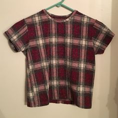 Plaid Brandy crop top Bought from another posher. The tag fell off. She sent it with the tag but I just threw it away. Brandy Melville Tops Crop Tops