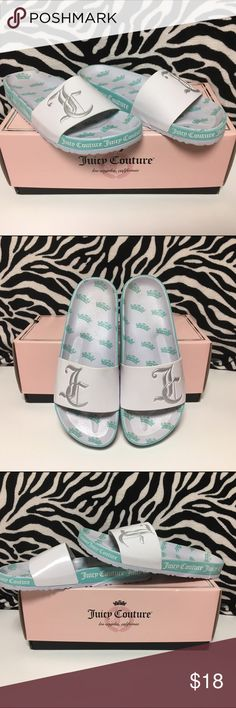 Juicy Couture Slides Hardly worn Juicy Couture slides. Light blue and white with silver JC. Box comes with it  Juicy Couture Shoes Sandals