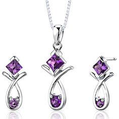 Amethyst Pendant Earrings Necklace Sterling Silver Rhodium Nickel Finish Multple Shape 1.50 Carats