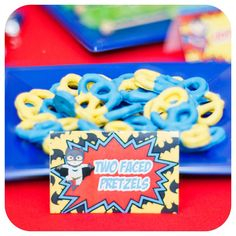 Two Face pretzels at a superhero birthday party! See more party ideas at CatchMyParty.com!