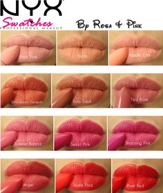 Different color NYX lipsticks. This chart is perfect! I'm always trying to find a great nude lipstick and now I know where to get the right one.