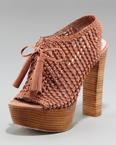 Knotted Leather Slingback Platform by Pencey at Neiman Marcus.