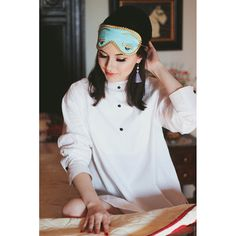 Audrey Hepburn Breakfast at Tiffany's Sleep Set Tuxedo Shirt Silk Eye Mask Tassel Earplugs Holly Golightly Gifts for Her Halloween Costume by IamAnAudrey on Etsy https://www.etsy.com/listing/229056606/audrey-hepburn-breakfast-at-tiffanys