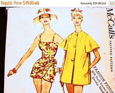 SALE 25% Off 1960s One Piece Swimsuit with by PatternsFromThePast