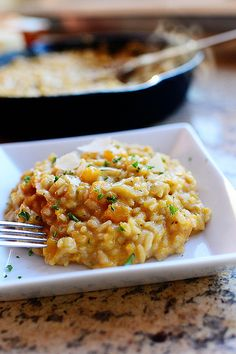 Butternut Squash Risotto. Creamy, dreamy, divine! (one of my fave comfort food inspirers, Pioneer Woman)
