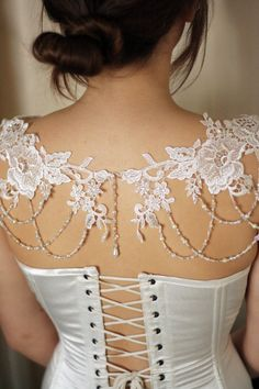 A beautiful bespoke accessory that is the perfect finishing touch to a plain, strapless gown but could also be worn over a plain dress, top or even a jumper! One of our favourite pieces! Lace panels are carefully hand-stitched together, detailed with pearls and Swarovski crystals and then adorned with strings of pearls and crystals to drape gracefully over the décolletage and shoulders. Each one is made to order enabling you to match any existing details by simply sending us an image or a…