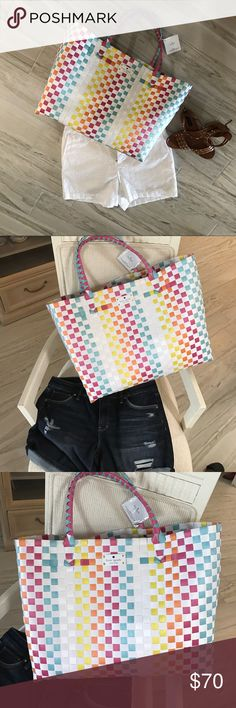 NWT Kate Spade tote. No 🚫 trades Kate Spade tote. Bought this as beach bag and never used it. Dimensions are height 13 in. Width 18 in. Drop from handle 8 inch. kate spade Bags