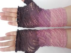 Arm warmers lace fingerless gloves lace wool gloves by Solviashop