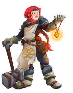 f Dwarf Cleric Med Armor Cloak Symbol WarHammer Eyir Lifdagar! d&d DnD [Art] Commissioned my