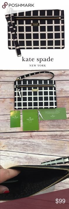 NWT Kate Spade Wristlet Kate Spade New York saffiano leather wristlet and gold toned hardware Front zip pocket Wristlet strap is partially detachable for easy stowing and has a drop of approx. 6.5 inches Lined interior features 4 card slots Approx. dimensions: 7.5 in (L) x 5 in (H) x 0.25 in (W). Brand new! kate spade Bags Clutches & Wristlets