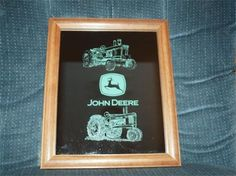 John Deere Mirror : Engraved on back with colored paper added