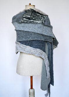 Wool Felt Hand knited shawl Cozy warm light grey ash by ZOJKAshop, $65.00