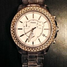 FOSSIL Watch w/Swarovski Crystals PRICE DROP beautiful Japanese Movement style (three dial rim) Fossil watch. retail price is $105.00. also comes with extra links. needs watch battery- that can be bought @ Walgreens for under $8 Fossil Accessories Watches