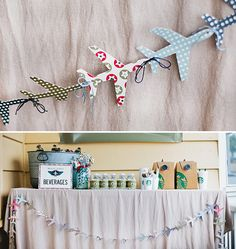 Vintage airplane themed party - airplane shaped cutouts for streamers/ banners