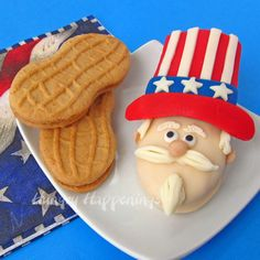 """Turn Nutter Butters into Uncle Sam Cookies for 4th of July"" from ""Hungry Happenings"" -- Even the blogger says these cuties are a lot of work, but she gives instructions for making it an ""assembly-line"" process."