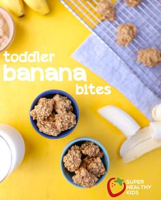 Toddler Banana Bites. Used pineapple juice because it's what I had, next time try a touch of honey and maybe some Greek yogurt to make lighter and more moist. AT