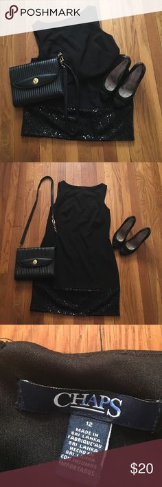 Chaps cocktail dress with sequins bottom Sexy black dress Chaps Dresses Midi