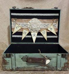 Beautiful vintage shabby chic wedding card suitcase on Etsy, $79.99
