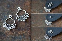 Interchangeable silver ear jacket earrings artisan jewelry by CookOnStrike