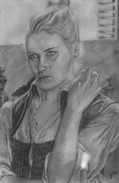 Hannah New as Eleanor Guthrie in 'Black Sails' Freehand sketch using HB pencil and eraser. Darkened digitally.
