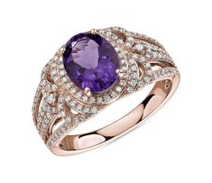 Inspired by vintage jewelry, this sophisticated rose gold ring features an array of pave-set diamonds that frame a beautiful cushion-cut amethyst. This piece will sure to be treasured for years to come. Beautiful Wedding Rings, Wedding Rings Rose Gold, Wedding Rings Vintage, Gold Ring, Top Engagement Rings, Amethyst And Diamond Ring, Wedding Ring Designs, Fashion Rings, Cushion Cut