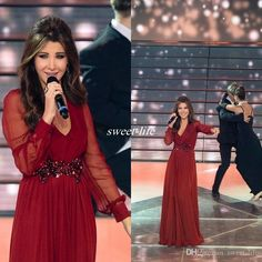 b81ef3a8a894 ... Chiffon V Neck Beading Floor Length 2016 Nancy Ajram Celebrity Prom  Gowns Occasion Dresses Online with  102.01 Piece on Sweet-life s Store