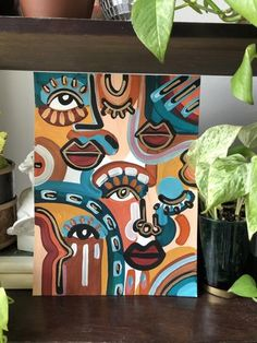 Small Canvas Paintings, Easy Canvas Art, Small Canvas Art, Abstract Face Art, Abstract Canvas Art, Acrylic Painting Canvas, Hippie Painting, Trippy Painting, Cuadros Diy