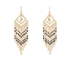 Gold and Black Chevron Drop Earrings