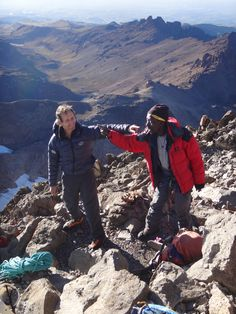 Jeremy and Kim at the top of Nelion, Mt Kenya