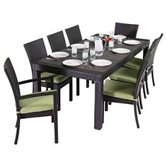 RST Brands Deco 9Piece Dining Set with Cushions Ginkgo Green >>> Continue to the product at the image link.